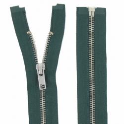 Fermeture Métal Argent 55cm vert foncé