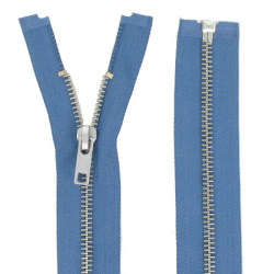 Fermeture Métal Argent 60cm bleu jeans