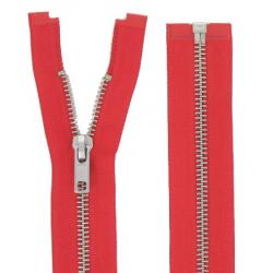 Fermeture Métal Argent 70cm rouge