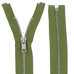 Fermeture Métal Argent 70cm vert armée