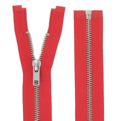 Fermeture Métal Argent 75cm rouge
