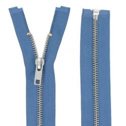 Fermeture Métal Argent 75cm bleu jeans