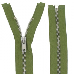 Fermeture Métal Argent 75cm vert armée